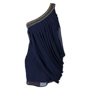 Navy Chiffon One Shoulder Dress  Double Zero   $54.00