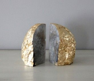 // gold leafed onyx bookends