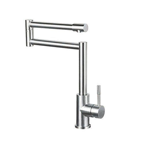Jinyuze Stainless Steel Swing Arm Kitchen Faucet 1 Lever Deck Mount Retractable Pot Filler Kitc Brushed Nickel Kitchen Faucet Kitchen Faucet Pot Filler Kitchen