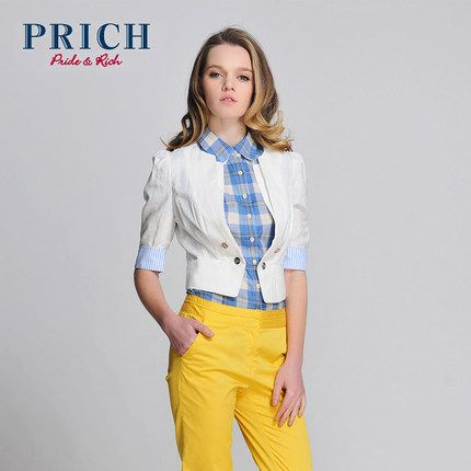 PRICH春夏装新款女装 韩版小西服女 短款小西装女外套PRJK22311Y