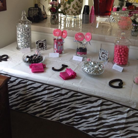 Exceptional Black And Pink Baby Shower Part - 11: Candy Buffett At My Girlfriends Baby Shower - Hot Pink, Black/ White Zebra  Theme. | Events | Pinterest | Pink Black, Babies And Party Planning