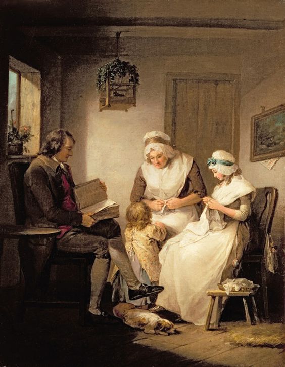 A reading scene by George Morland (1763-1804) entitled Domestic Happiness  Christi's Images / Bridgeman Art Library