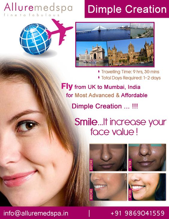 Dimple Creation is the 45 min procedure which can boost your smile and improve the appearance by Celebrity Dimple Creation surgeon Dr. Milan Doshi. Fly to India for Dimple Creation surgery (also known as Dimpleplasty) at affordable price/cost compare to London, Birmingham, Leeds,UK at Alluremedspa, Mumbai, India.   For more info- http://www.Alluremedspa-uk.com/cosmetic-surgery/face-surgery/dimple-creation.html