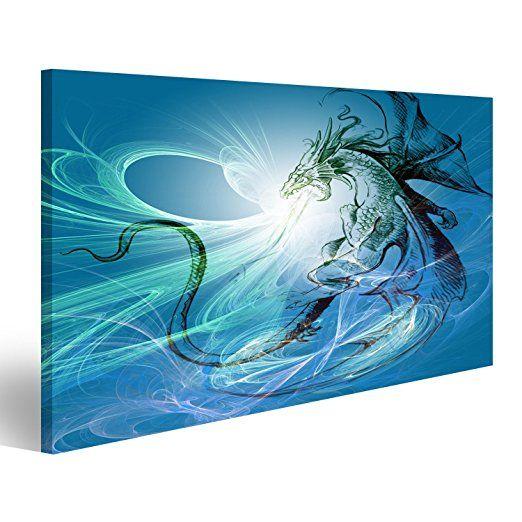 islandburner bild bilder auf leinwand fantasy fantasie ideen marchen drache feen elfen picture bilderwa wandbilder 40x120 foto günstig