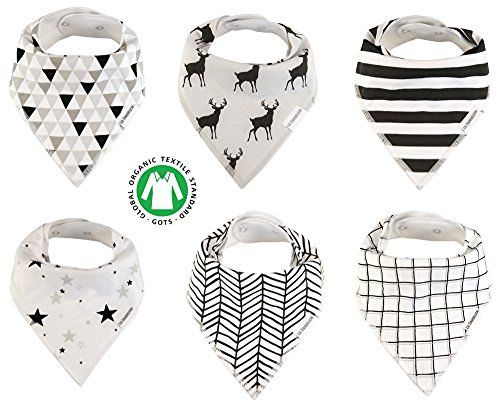 Baby Bandana Drool Bibs Organic 6 Pack for Boys and Girls Absorbent Soft Cotton…
