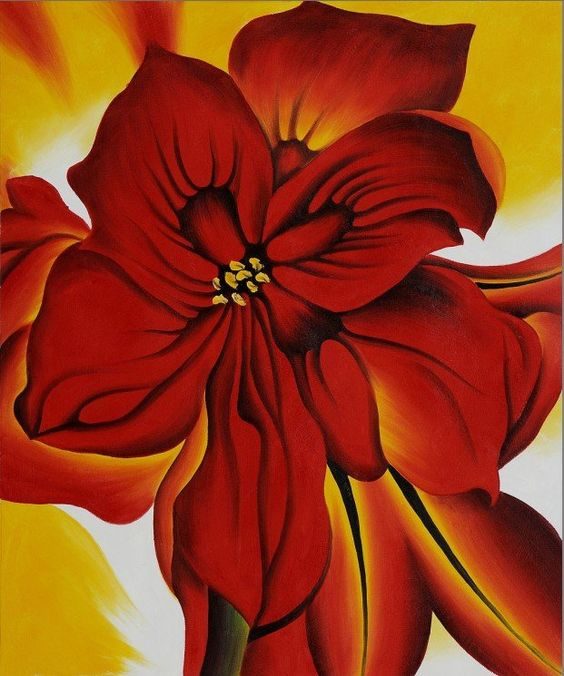 Wall deco western art georgia o keeffe red amaryllis hand for Amaryllis deco