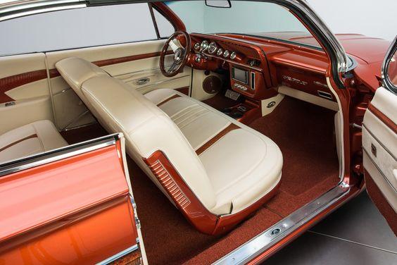 61 Chevrolet Impala, burnt orange ls6 ls swap. asanti 5 star af144 wheels, custom dash to fit a double din