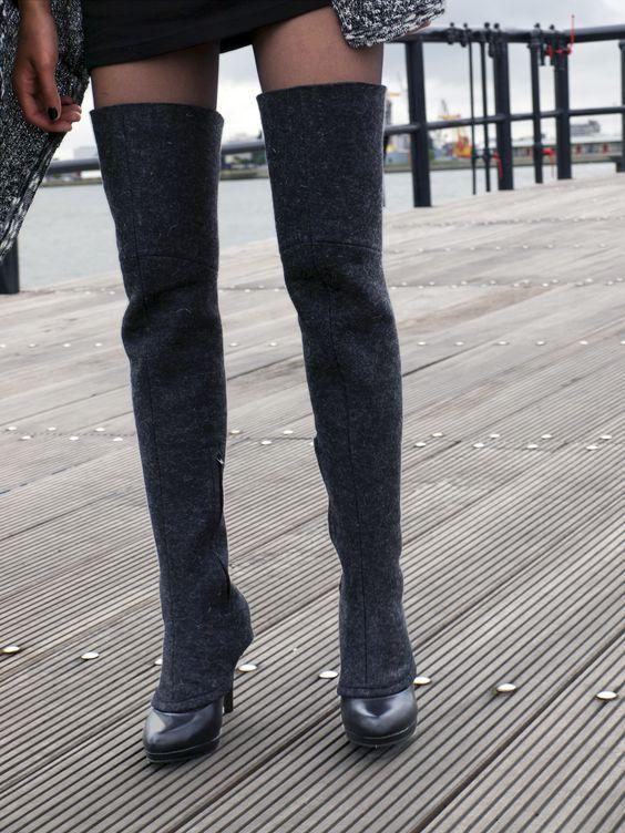 pepavanas, accessory for high heels. over the knee example made of naturel wool felt