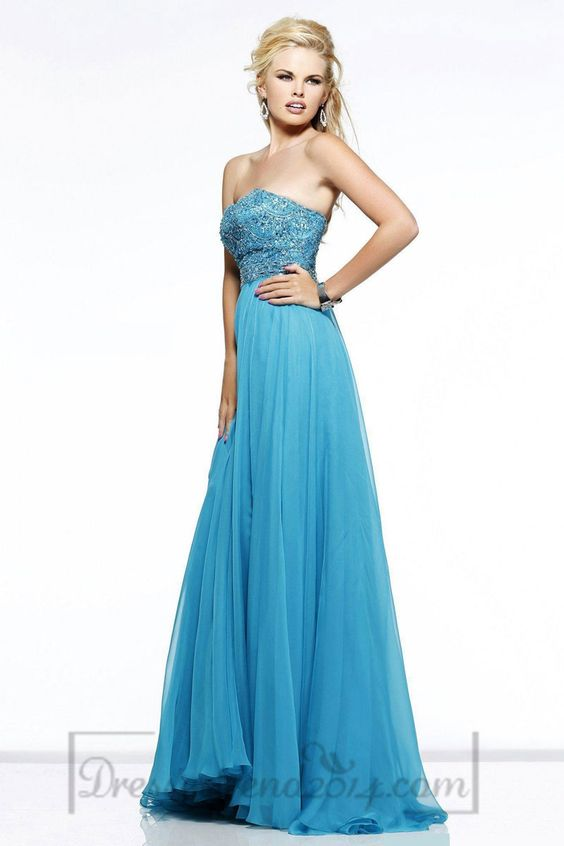 Long Chiffon A-line Strapless Zipper Natural Waist Prom Dress