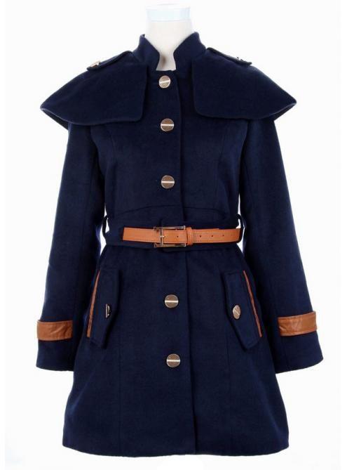 Navy  Cape Collar Skirt Hem Woolen Coat