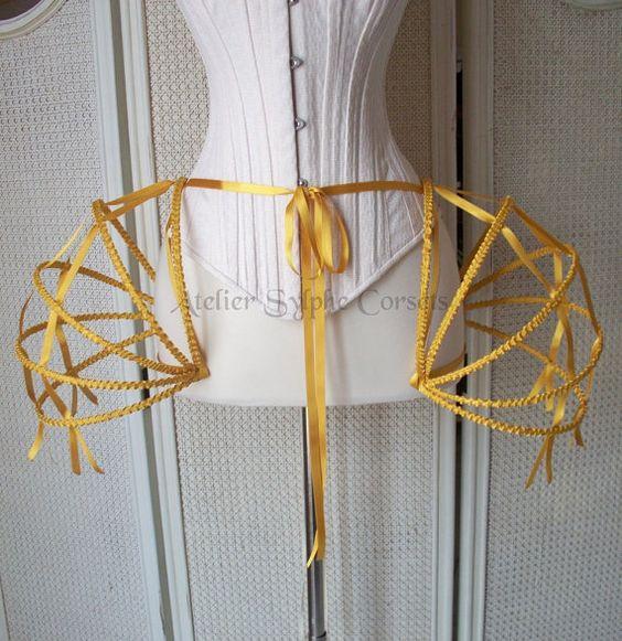 Missy can u do metalwork?  gold ribbon Crinoline hoop skirt panier $119