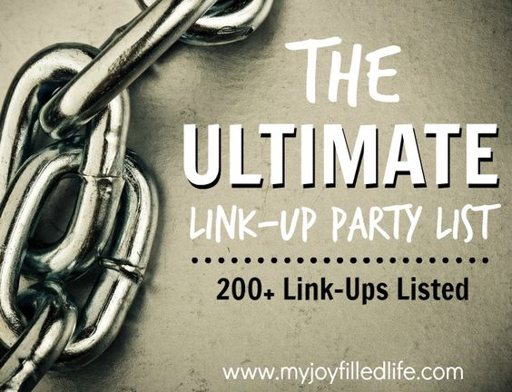 Because of my love for link-up parties (and because I've 'heard' SO MANY bloggers asking about places to link up) I decided to put together a HUGE, comprehensive, and current list of link-up parties around the web.  There are over 200 parties on this Ultimate Link Up Party List, offering you a variety of places to link up.  On the list you'll find the following parties – homeschool, faith, marriage, motherhood, crafts, recipes, homemaking, and lots more.: