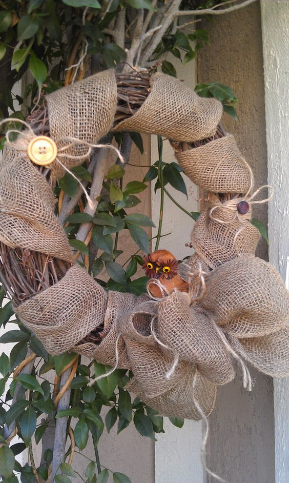 Fall Sale Burlap Wreath Owl Wreath Rustic Owl Wreath