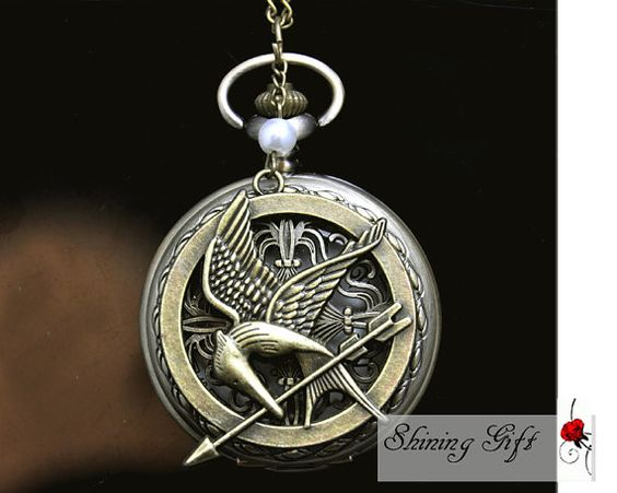 The Hunger Games Inspired Arrow, Mockingjay,and Peeta Pearl Vintage style Pocket Watch locket Necklace