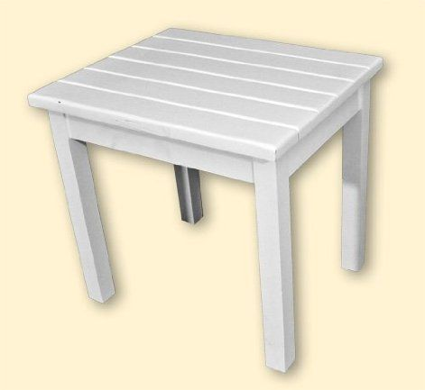 The perfect accompaniment to one of our rockers, this ready-to-assemble white end table is handcrafted in Tennessee by the Hinkle family. $39.99