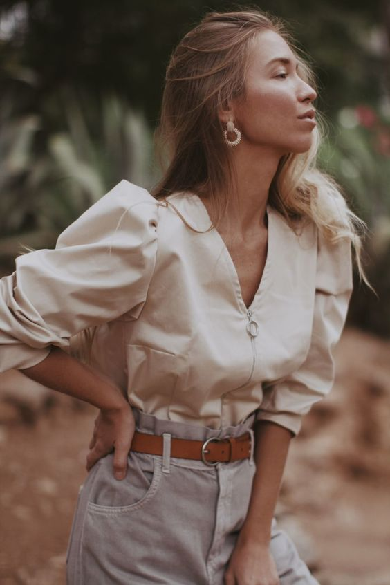 Блуза на молнии с объемными рукавами – купить на Ярмарке Мастеров – JUKF4RU   Блузки, Самара