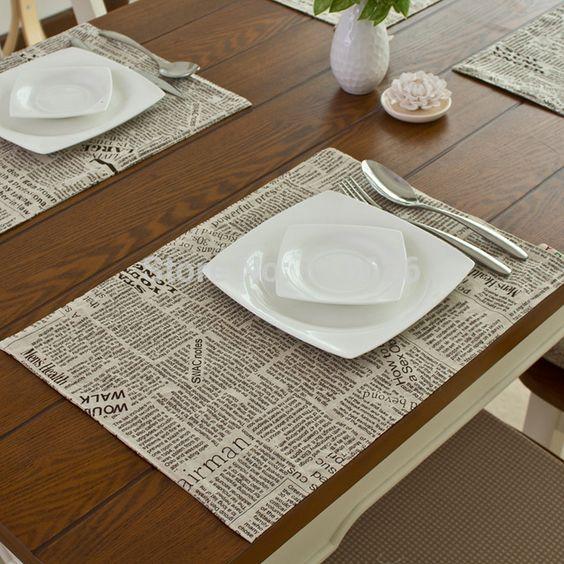 Ropa moda aislamiento térmico mantel de tela comedor estera estera de tabla posavasos 32 x 45 cm impresión de periódicos