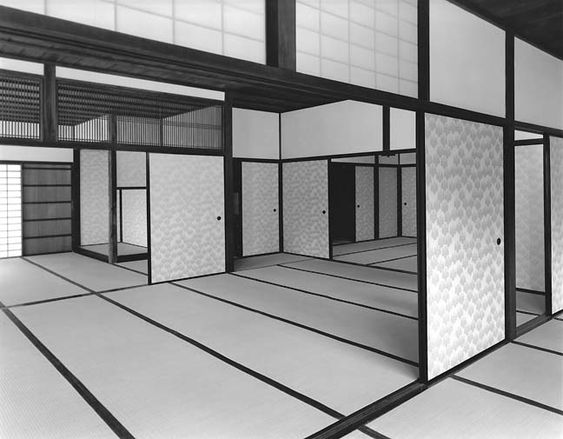 Katsura Detached Palace, built in the 16th-17th century.  Credit (c) Ishimoto Yasuhiro, Interior of the Old Shoin Viewed from the East