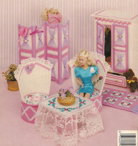 Plastic Canvas Barbie Fashion Doll Bedroom Pattern Book Dressing Screen Armoire