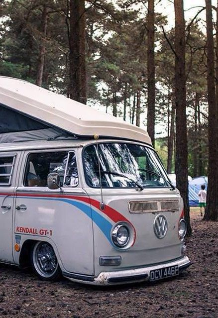 Volkswagen Bus. Wondering how it got on the camping grounds that low. But still good looking!