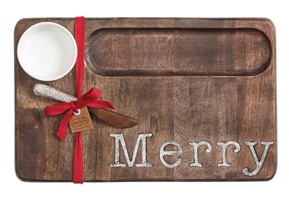 "Mud Pie Circa Collection Wood ""Merry"" Serving Board 12""x16"""
