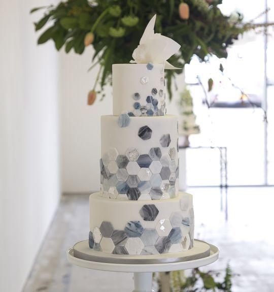Hexagonal tiled greys/blues wedding cake