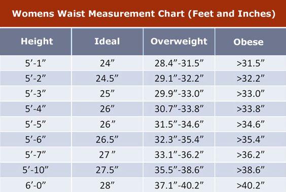 Women Waist Measurement Chart Waist Measurement Chart Fitness Goals For Women Measurement Chart