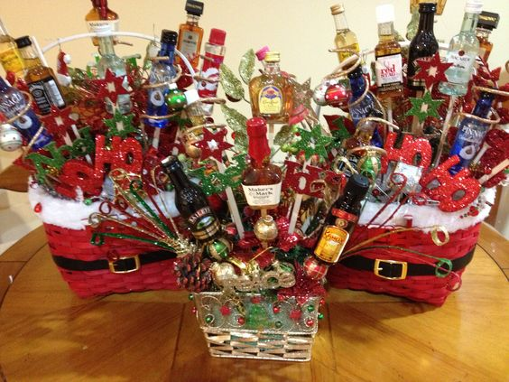 Liquor gift baskets. I made 2 something like these for our gift exchange.
