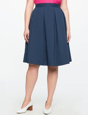 Pleated A-line Midi Skirt from ELOQUII