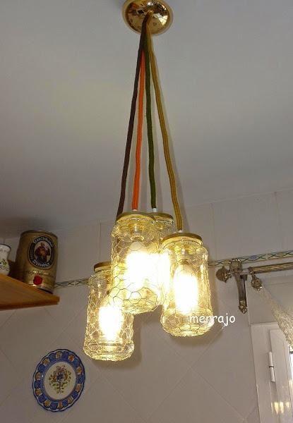 Me gusta reciclar... Cómo hacer lámpara con tarros de cristal | Aprender manualidades es facilisimo.com