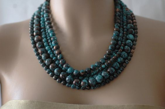 Bib Necklace Layered Necklace Patina Turquoise by stylelovers