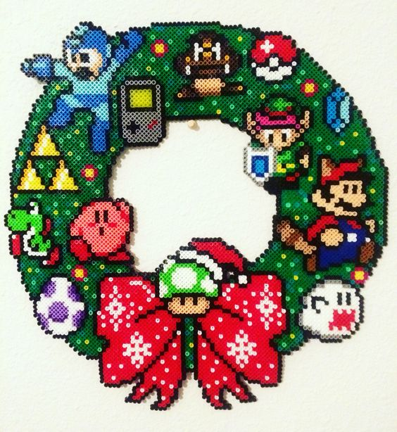 8-bit Nintendo Christmas Wreath made by Meg Murphy with Perler beads