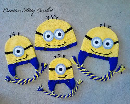 Ravelry: Free Minion Hat pattern by Crochet by Jennifer  Oh my jeebz!!  When I can actually crochet again, I SO have to make one for each of my three minions :) :)