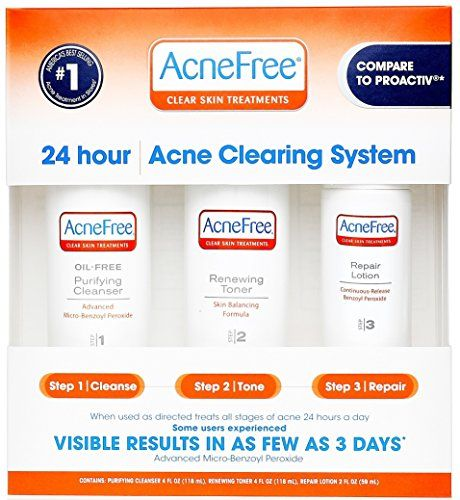 Acnefree 3 Step Acne Treatment Kit With Benzoyl Peroxide Https