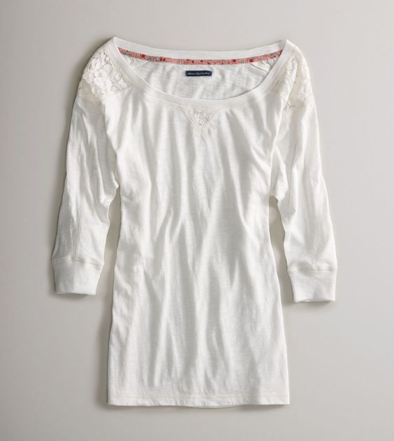 Lace shoulder AE light weight shirt. Got it and looking for the perfect accessories to pair!