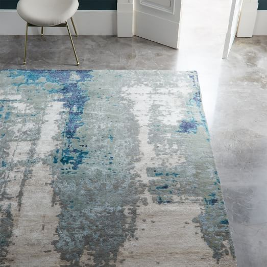 Painterly Abstract Rug Blue West