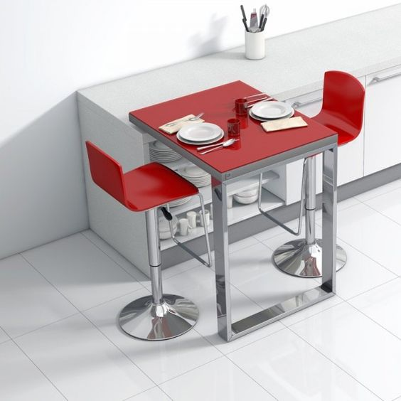 Table de cuisine d 39 appoint en verre fixation plan de for Table de cuisine escamotable