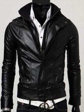 Men's leather jacket, Men Stand Collar Long Sleeve Double Zipper ...