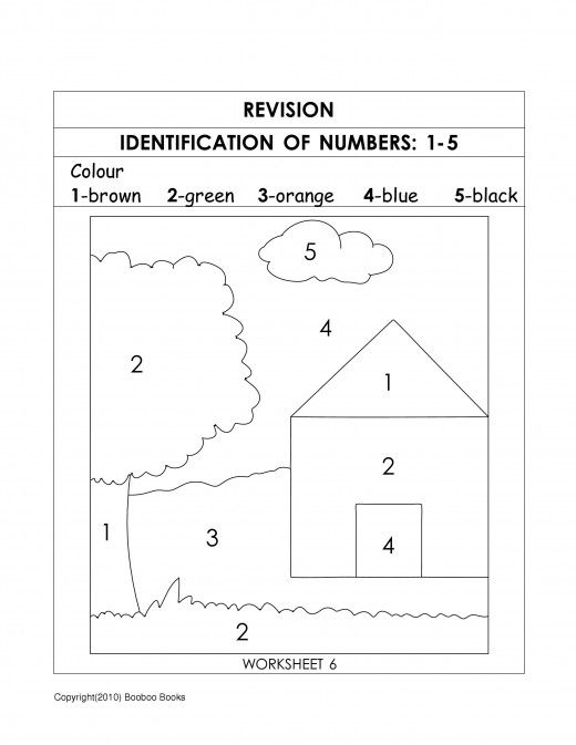 Number recognition activities - color by number worksheet