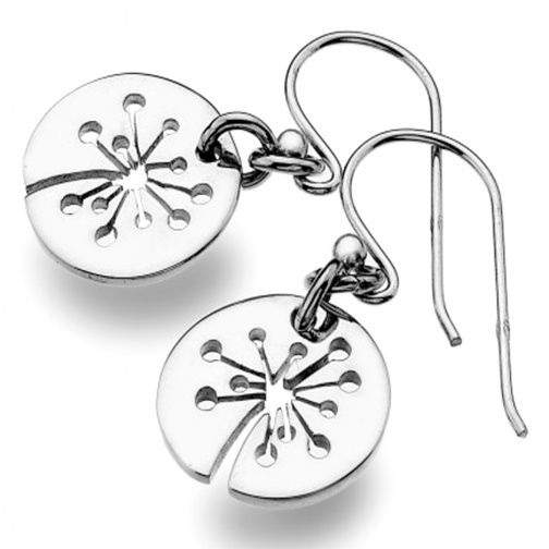 Sterling silver jewellery, Round Sterling Silver Dandelion Puff Design Earrings