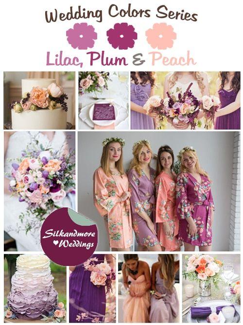 Lilac Plum And Peach Wedding Color Palette Peach Purple Wedding