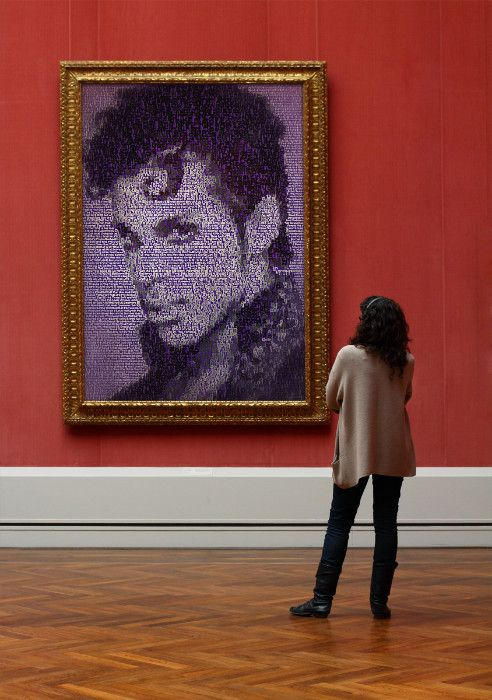 Choose your size and presentation! This is an art print image. It has a solid background color and is made entirely of the names of Prince songs. The words make up the entire image. Even the very fine