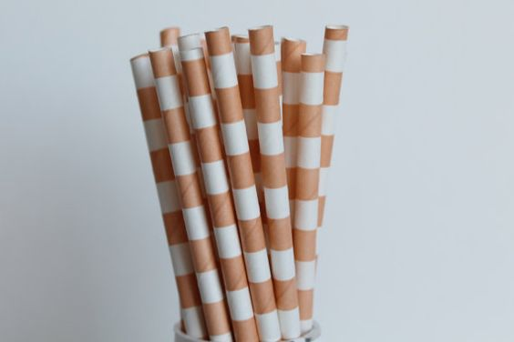 Peach Horizontal Striped Paper Straws-Rugby by CreativeJuiceCafe