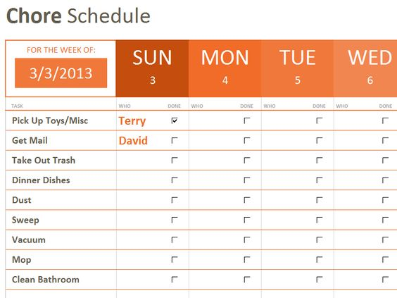 Chore Schedule- Starter Template to keep us on track during the - onboarding plan template