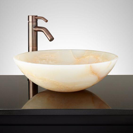 Sary Round White Onyx Vessel Sink