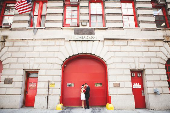 #RealWeddings in #SoHo. Our lovely couple posing outside the New York City Fire Museum. #TrumpBride   NYC Wedding from VinnyD Photography  Read more - http://www.stylemepretty.com/new-york-weddings/new-york-city/2012/10/31/nyc-wedding-from-vinnyd-photography/