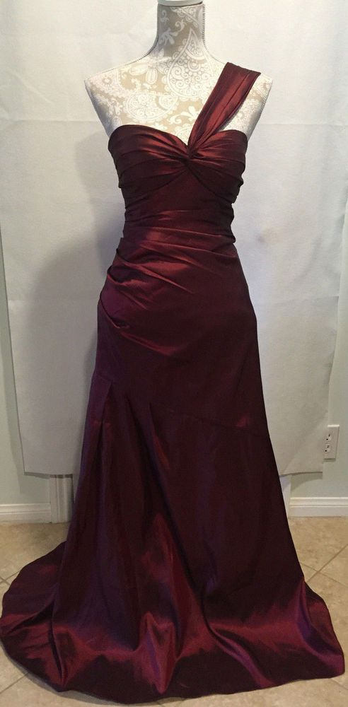 Bill Levkoff Bridesmaid Prom Wedding Long Gown One Shoulder Dress Sz 4 MSRP $299