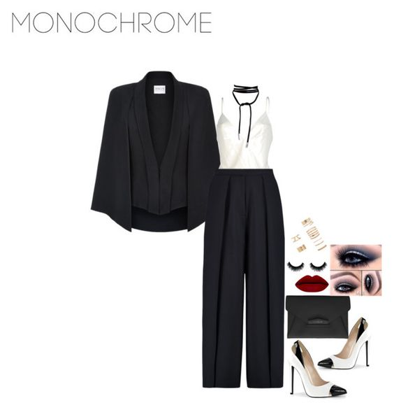 """MONO"" by slayedbyk ❤ liked on Polyvore featuring Armani Collezioni, GUESS by Marciano, Iris & Ink, Givenchy, Forever 21 and monochrome"