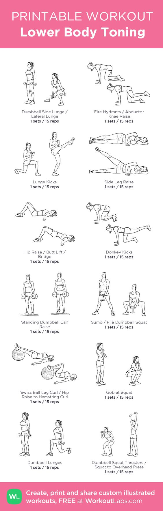 Lower Body Toning –my custom workout created at WorkoutLabs.com • Click through to download as printable PDF! #customworkout