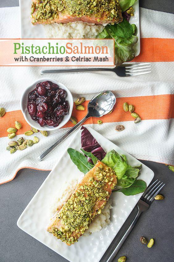 Pistachio Salmon with Cranberry Sauce and Celriac Mash ...